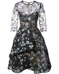 Monique Lhuillier - Embroidered Illusion Dress - Lyst