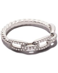 David Yurman - 18kt White Gold Stax Single Row Pavé Diamond Chain Link Ring - Lyst