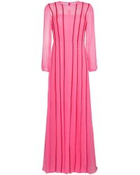 Adam Lippes - Silk Pleated Dress With Red Stripes - Lyst