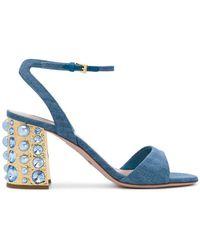 Sebastian - Studded Block Heel Sandals - Lyst