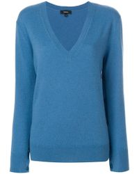 Theory - Button-sleeve Cashmere Jumper - Lyst