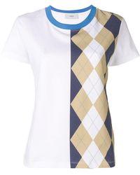 Pringle of Scotland - Argyle Print T-shirt In Indigo/camel - Lyst