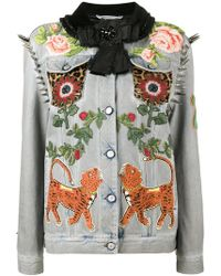 Gucci - King Charles Spaniel Studded Denim Jacket - Lyst