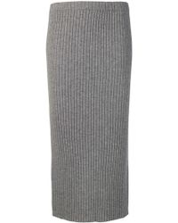 Allude - Ribbed Knit Midi Skirt - Lyst