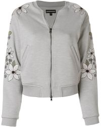 Emporio Armani - Floral Embroidered Bomber Jacket - Lyst