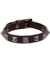 Valentino - Burgundy Rockstud Bracelet - Lyst