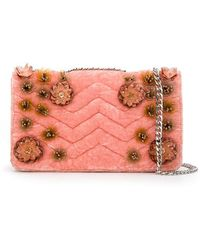 Isla - Velvet Quilted Embroidered Shoulder Bag - Lyst