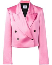 MSGM - Double Breasted Satin Blazer - Lyst