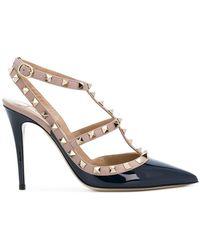 Valentino - Navy And Pink Garavani Rockstud Cage Heels - Lyst