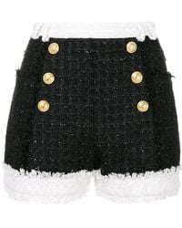 Balmain - Tweed Double Breasted Shorts - Lyst