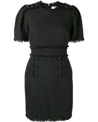 MSGM - Bouclé Tweed Frayed Dress - Lyst