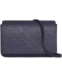 Burberry - Perforated Logo Leather Wallet With Detachable Strap - Lyst