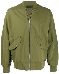 Yang Li Contrast Back Bomber Jacket - Green