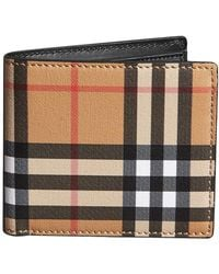 Burberry - Vintage Check And Leather International Bifold Coin Wallet - Lyst