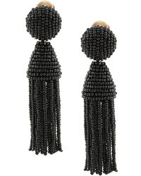 Oscar de la Renta - Short Beaded Tassel Earrings - Lyst