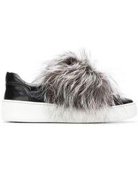 Sergio Rossi - Fur Trim Sneakers - Lyst