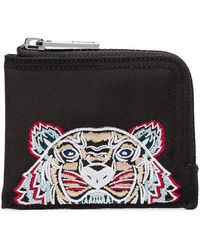 KENZO - Black And Blue Logo Embroidered Cotton Wallet - Lyst