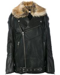 Faith Connexion - Faux Fur Trim Leather Jacket - Lyst