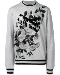 Dolce & Gabbana - Logo Patch Floral Sweatshirt - Lyst