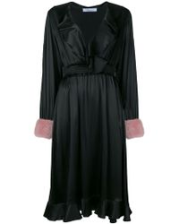 Blumarine - Fur Cuff Ruffled Wrap Dress - Lyst
