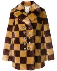 Marco De Vincenzo - Checked Faux Fur Coat - Lyst