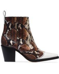 Ganni - Caramel Lovina 70 Leather Ankle Boots - Lyst