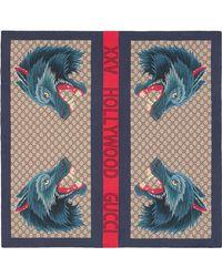 Gucci - Wolf Web print silk scarf - Lyst