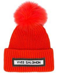 Yves Salomon - Ribbed Pom Pom Beanie - Lyst