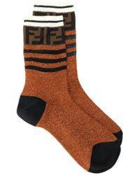 Fendi - Ff Logo Glitter Socks - Lyst