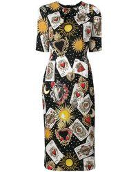 Dolce & Gabbana - Playing Cards Print Dress - Lyst