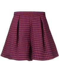 L'Autre Chose - High-waisted Checked Shorts - Lyst