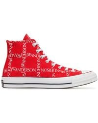 Converse - X Jw Anderson Red Logo Print Sneakers - Lyst