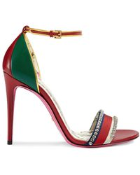 Gucci Leather Sandal With Crystals - Red