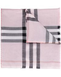 Burberry - Metallic Check Silk And Wool Scarf - Lyst