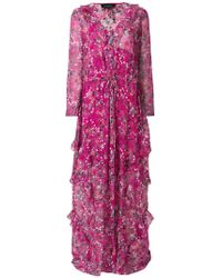 Saloni - Long Floral Ruffle Dress - Lyst