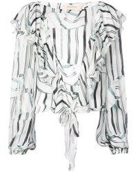 Nicole Miller - Striped Ruffled Longsleeved Blouse - Lyst