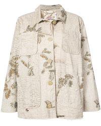 By Walid - Oversized Foliage Print Denim Jacket - Lyst