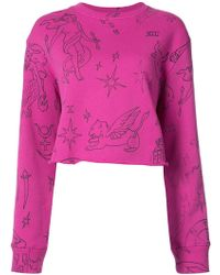 The Elder Statesman - Printed Raw Cropped Sweatshirt - Lyst