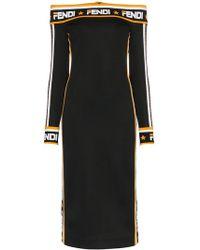 af4a8cb95b4b Fendi - Abito Off The Shoulder Logo Trim Midi Dress - Lyst
