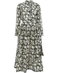 Sara Lanzi - Floral Flared Shirt Dress - Lyst