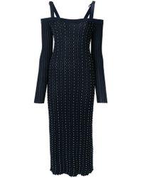 Versace | Studded Pleated Midi Dress | Lyst