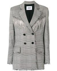 MSGM - Crystal Embellished Houndstooth Jacket - Lyst
