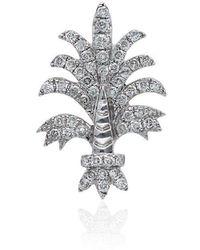 Yvonne Léon - 18k White Gold Bo Fleur Diamond Earring - Lyst