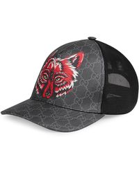 Gucci - GG Supreme Baseball Hat With Wolf - Lyst