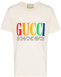 24d2bb50855 Gucci - Rainbow Cities Print Cotton T Shirt - Lyst