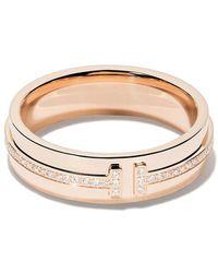 Tiffany & Co. - 18kt Rose Gold Tiffany T Two Diamond Narrow Ring - Lyst