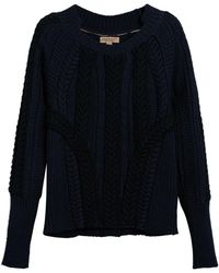 Burberry - Two-tone Cable Knit Jumper - Lyst