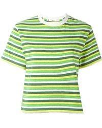 Julien David - Striped Cropped T-shirt - Lyst
