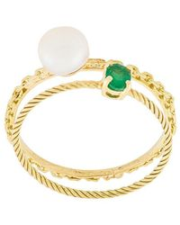 Wouters & Hendrix - Pearl & Emerald Set Of Rings - Lyst