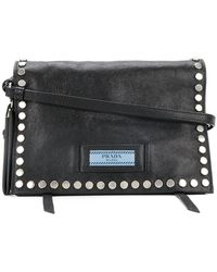 Prada - Etiquette Studded Shoulder Bag - Lyst